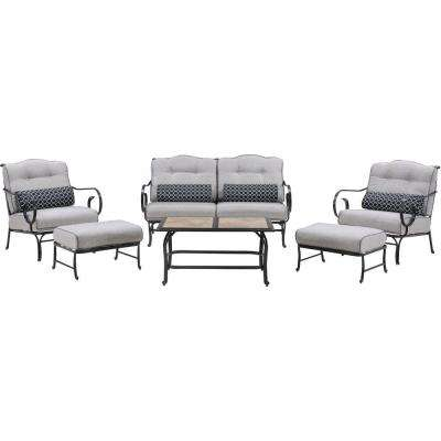 Oceana 6-Piece Metal Patio Seating Set with a Tile-Top Coffee Table and Silver Lining Cushions