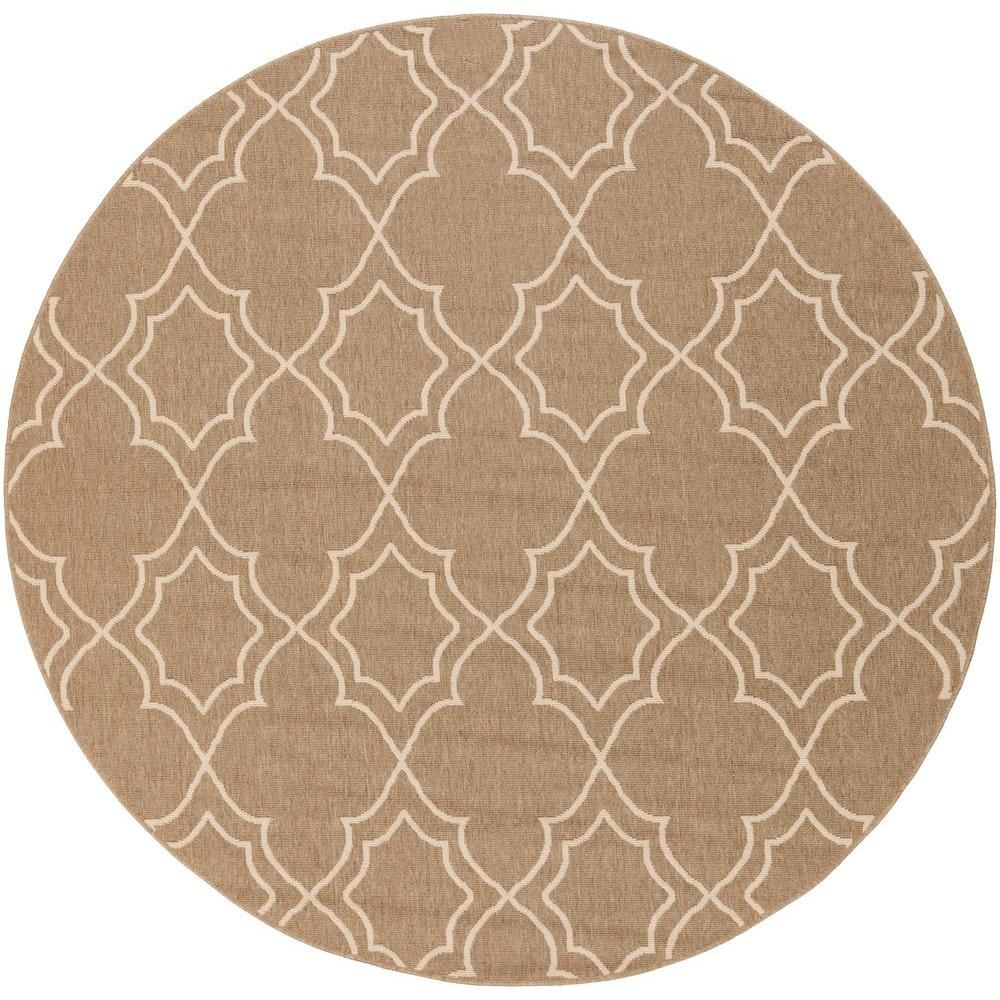 Anderson Beige 9 ft. x 9 ft. Round Indoor/Outdoor Area Rug