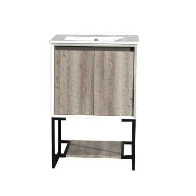 Marseille 24 in. Single, 2 Doors, Open Shelf Bathroom Vanity in White with White Countertop with White Basin