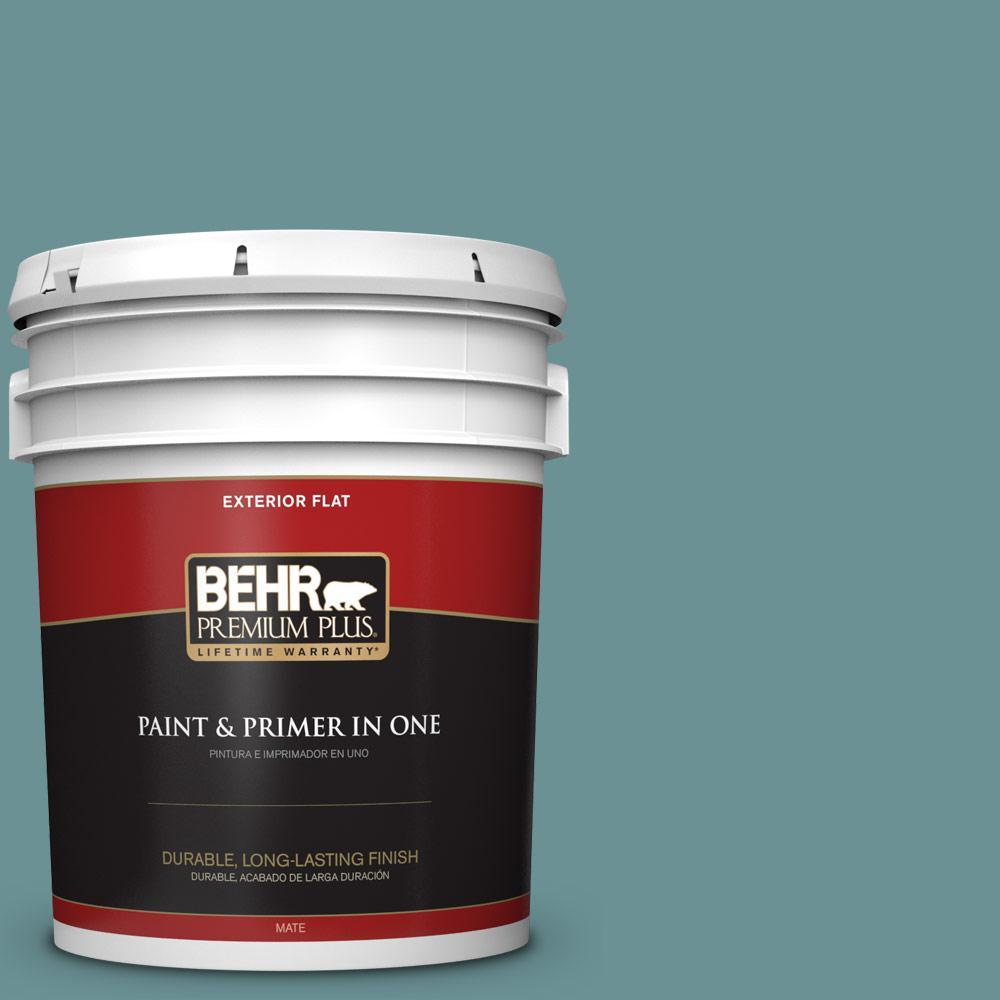 BEHR Premium Plus 5-gal. #T15-16 Blue Clay Flat Exterior Paint