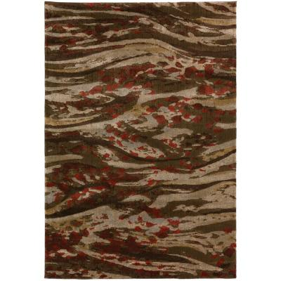 Serene 2 Abstract Waves Chocolate 5 ft. 3 in. x 7 ft. 7 in. Area Rug