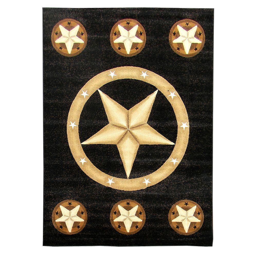 Skinz Texas Star Design Black 5 ft. x 7 ft. Indoor