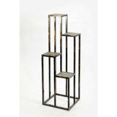 Cast Iron 4-Tier Gray Stone Slab Plant Stand