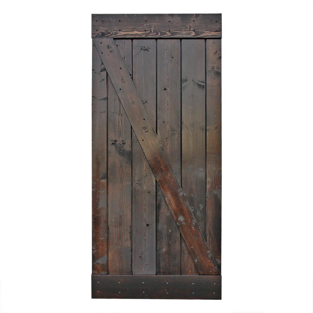 CALHOME 42 in. x 84 in. Dark Coffee Knotty Pine Sliding Interior Barn Door Slab was $419.0 now $279.0 (33.0% off)