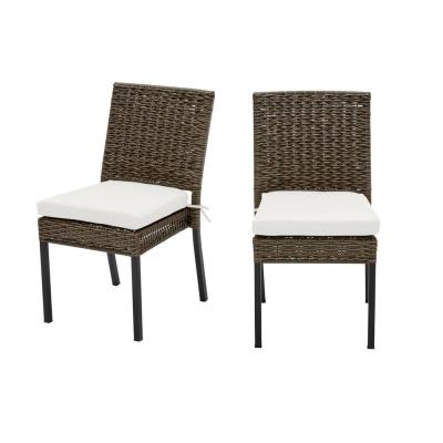 Laguna Point Brown 2-Piece Wicker Outdoor Patio Dining Chair with CushionGuard Chalk White Cushions