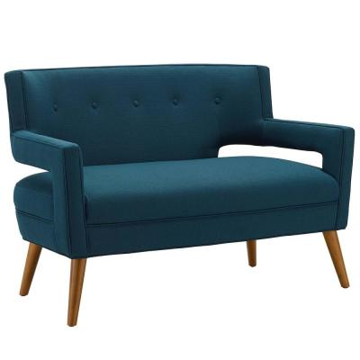 Sheer 50 in. Azure Polyester 2-Seater Loveseat with Tapered Wood Legs