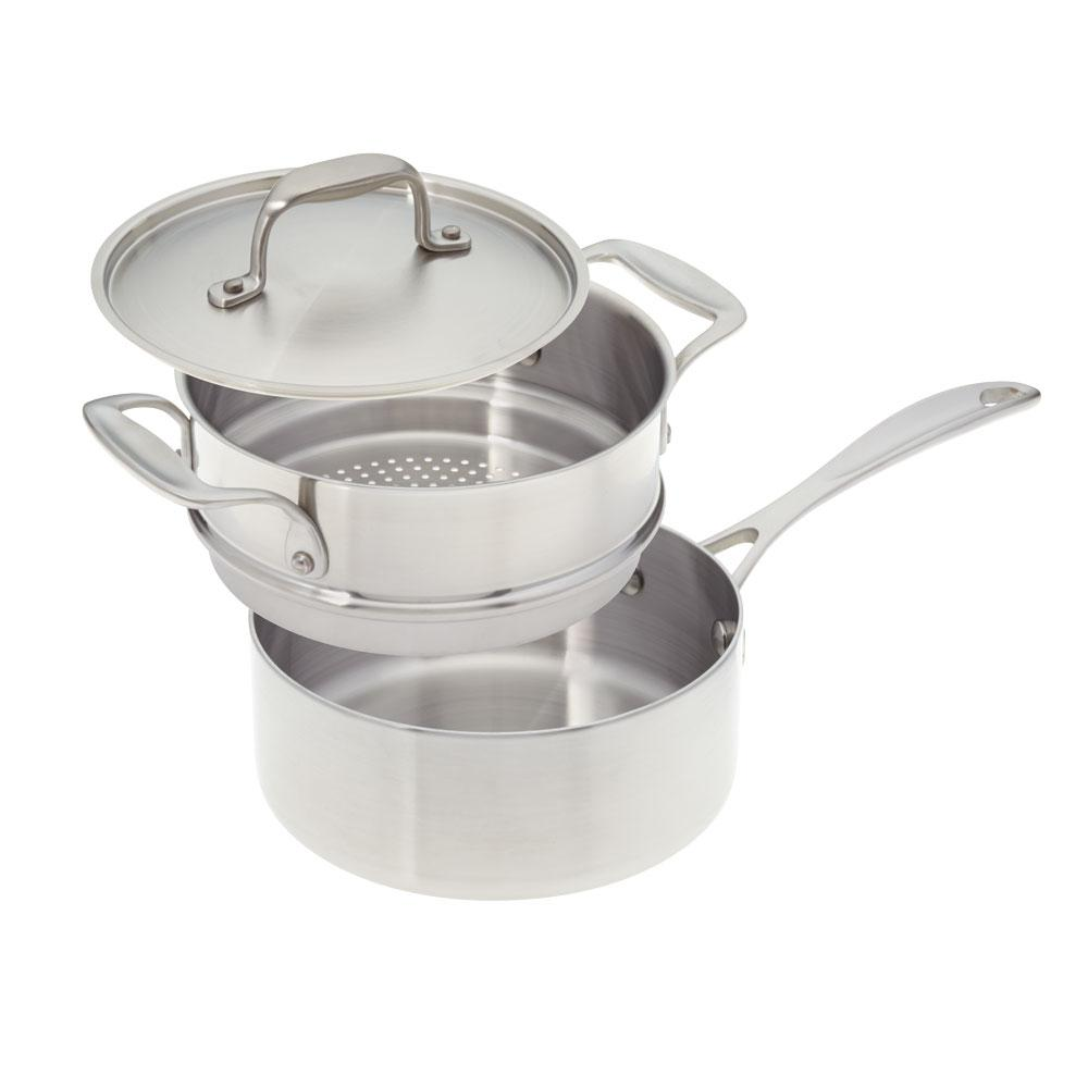 2 Qt. Premium Stainless Steel Saucepan with Steamer Insert and Cover