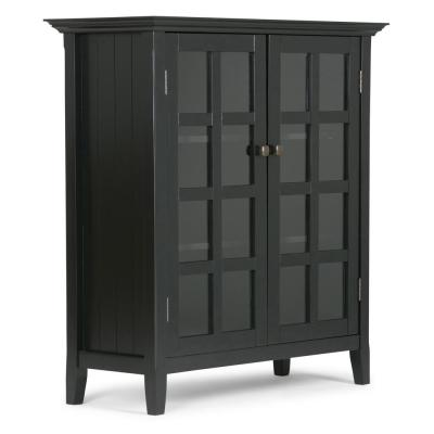 Acadian Solid Wood 39 in. Wide Rustic Medium Storage Cabinet in Black