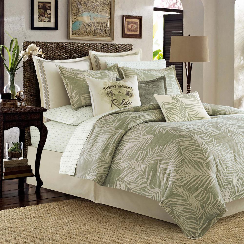 Palms Away 4-Piece Sage Comforter Queen Set
