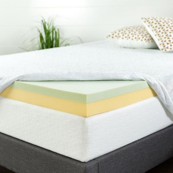 Memory Foam Mattress Topper.Zinus 4 In Green Tea King Memory Foam Mattress Topper Hd Gtft 400k