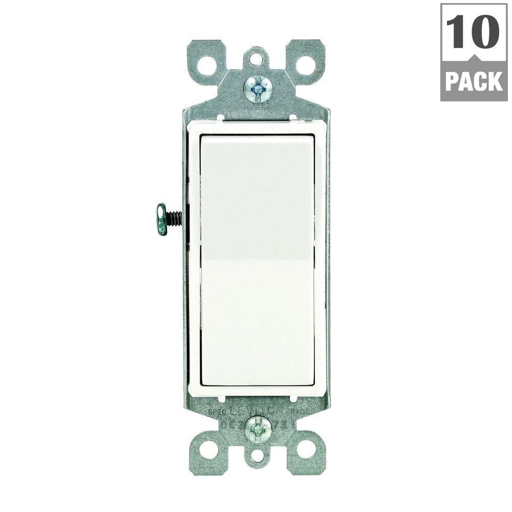 Leviton Decora 15 Amp Single Pole AC Quiet Switch, White (10-Pack ...
