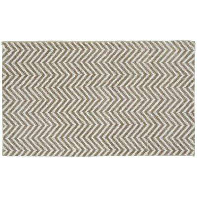 Charmant Palazzo II Tan/White 21 In. X 34 In. Bath Rug