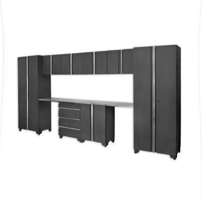 Classic 75 in. H x 156 in. W x 18 in. D Steel Cabinet Set in Coal (10-Piece)