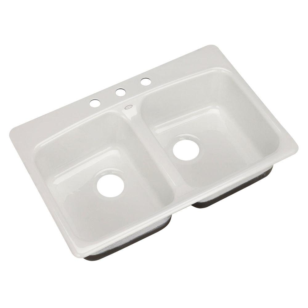 KOHLER Brookfield Self-Rimming Cast Iron 33x22x8.625 3-Hole Kitchen Sink in White-DISCONTINUED