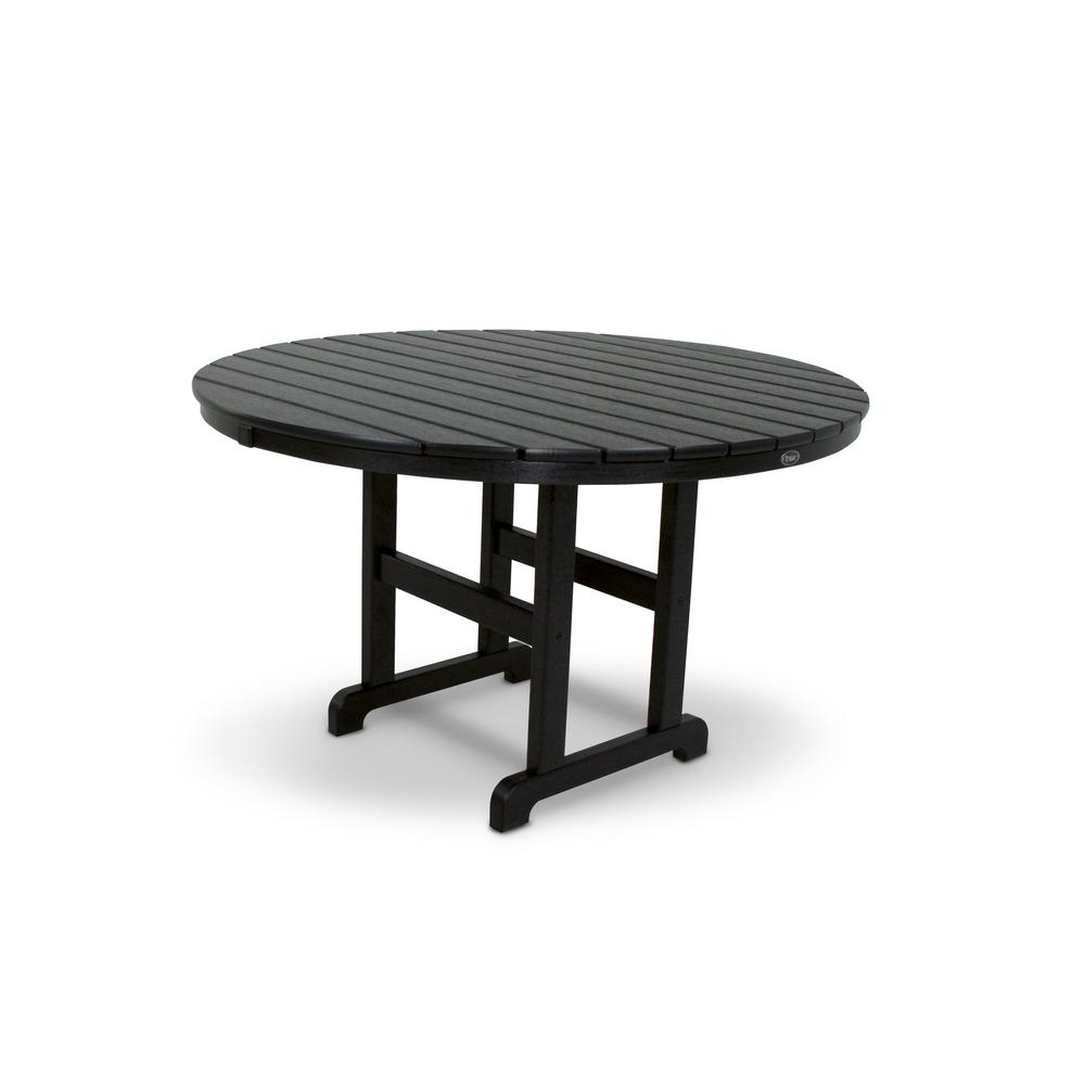 Monterey Bay 48 in. Charcoal Black Round Patio Dining Table
