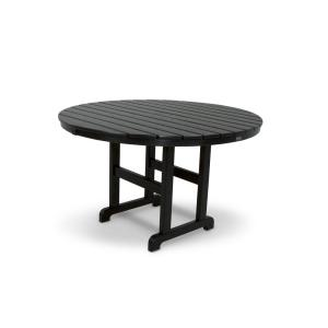 Trex Outdoor Furniture Monterey Bay 48 In Charcoal Black Round Patio Dining Table Txrt248cb