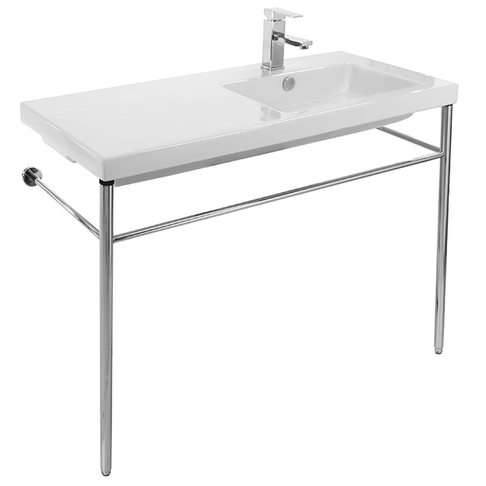Nameeks Condal Ceramic Console Bathroom Sink with Chrome Stand