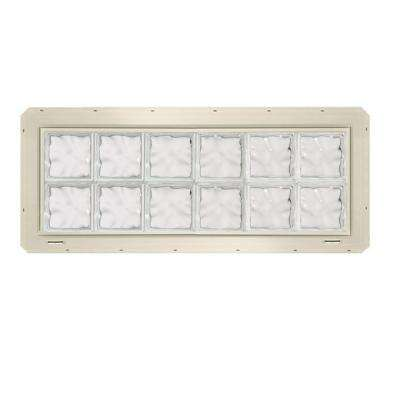 46.75 in. x 16.75 in. x 3.25 in. Wave Pattern Vinyl Glass Block Window with Almond Colored Nailing Fin