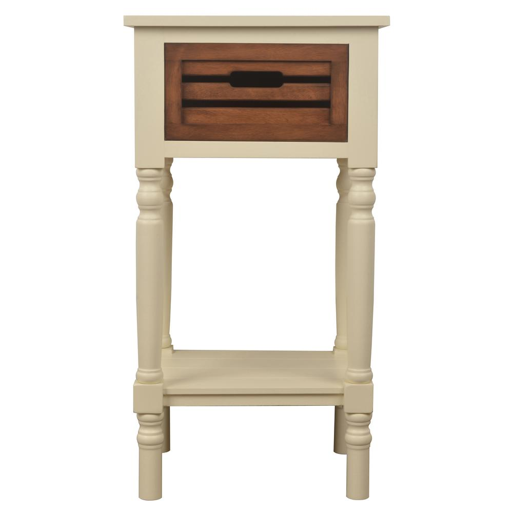 Merveilleux Decor Therapy Melody White And Honey Oak 1 Drawer End Table