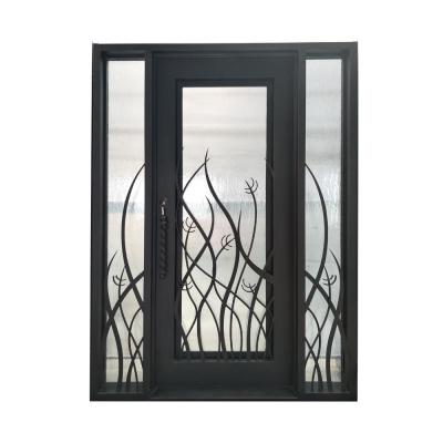 72 in. x 96 in. Aged Bronze Right-Hand Inswing 1 Lite Clear Double-Glazed Iron Prehung Front Door