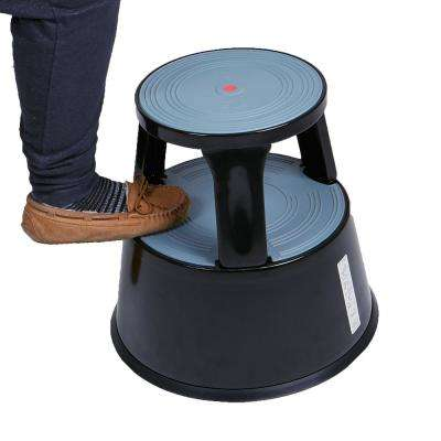 2-Step Plastic Tall Rolling Step Stool in Black