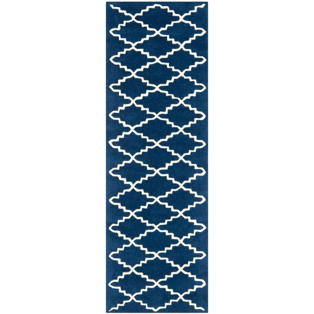 Safavieh Chatham Dark Blue/Ivory 2 ft. 3 in. x 9 ft. Runner