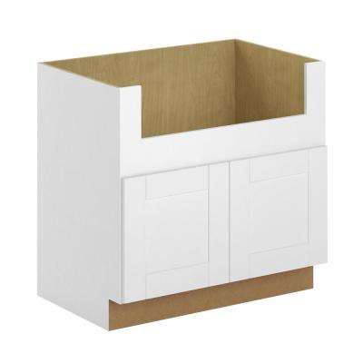 Princeton Shaker Assembled 36x34.5x24 in. Farmhouse Apron-Front Sink Base Cabinet in Warm White
