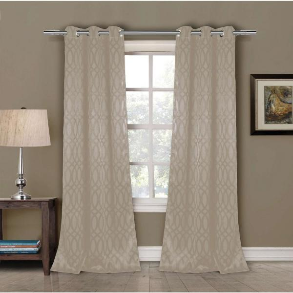 Blackout Tayla 84 in. L Blackout Grommet Panel in Taupe (2-Pack)