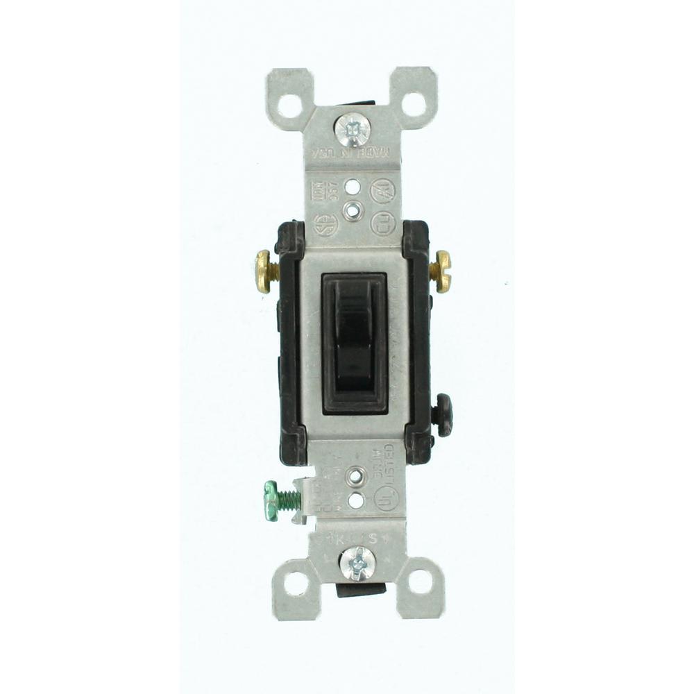 Leviton 15 Amp 3Way Toggle Switch BlackR550145302E The Home - 3 Way Light Switch Black
