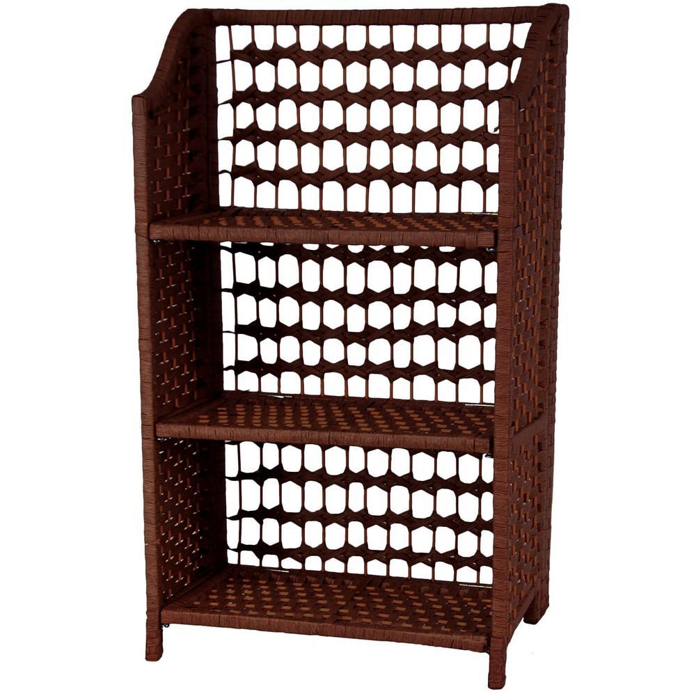 Oriental Furniture 3-Shelf Mahogany Natural Fiber Shelving Trunk JH09-018-3-MHGNY