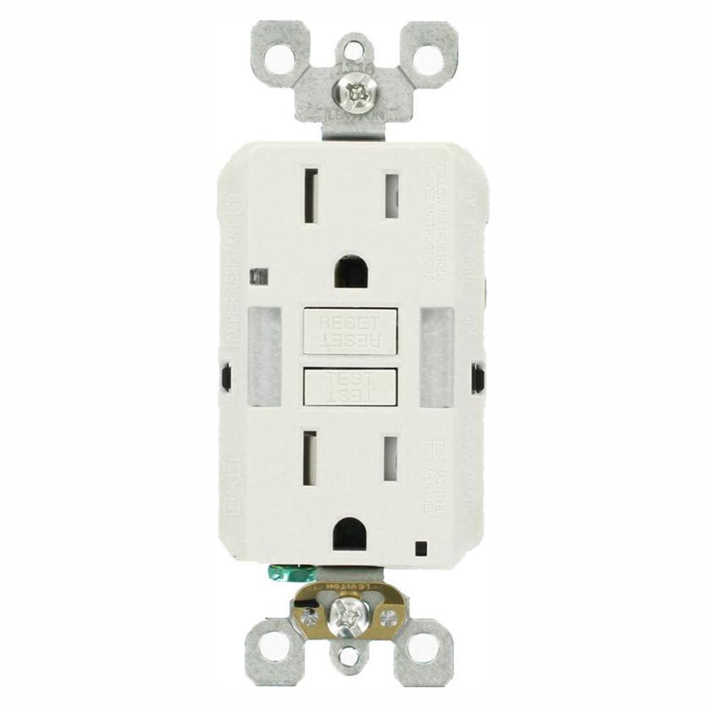 15 Amp Self-TestSmartlockPro Combo Duplex Guide Light and Tamper Resistant GFCI Outlet, White (9-Pack)