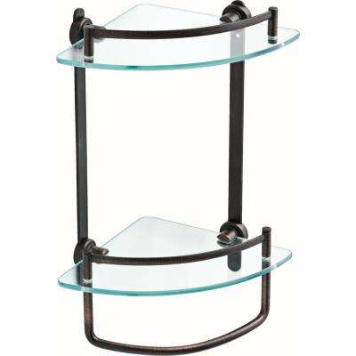 8 in. Glass Double Corner Shelf with Hand Towel Bar in SpotShield Venetian Bronze