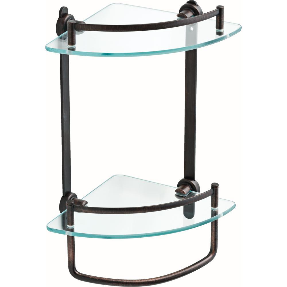 8 in. Glass Double Corner Shelf with Hand Towel Bar in Venetian Bronze
