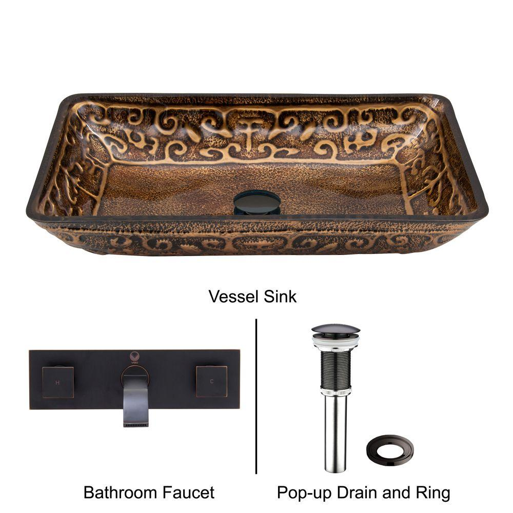 VIGO Rectangular Glass Vessel Sink in Golden Greek with Wall-Mount Faucet Set in Antique Rubbed Bronze