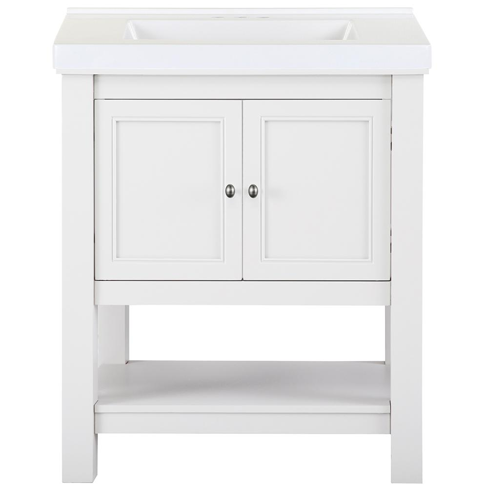 Home Decorators Collection Gazette 31 in. W x 22 in. D Bath Vanity in White with Cultured Marble Vanity Top in White with White Sink was $759.0 now $455.4 (40.0% off)