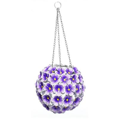 8 in. Tall Alpine Solar Metal Hanging Purple Hydrangea Ornament with White LED Lights