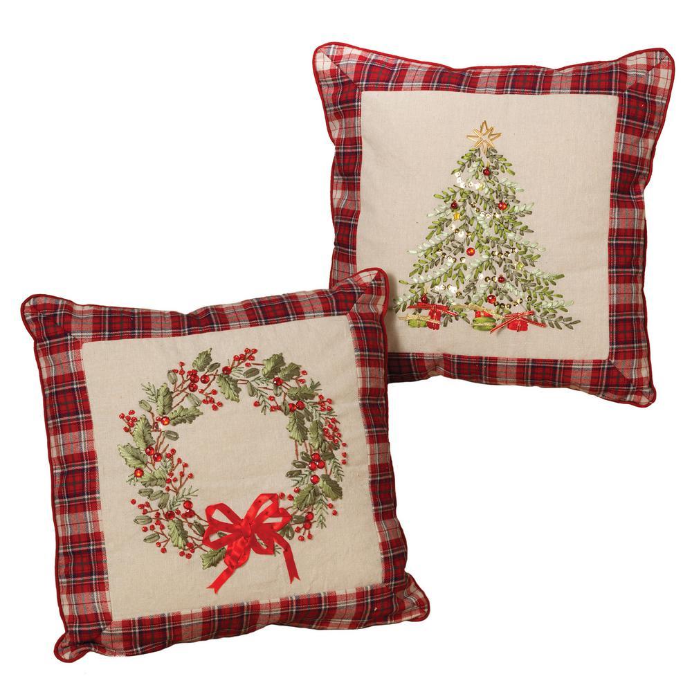 S/2 Asst 16 in. H Cotton Pillows