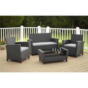 Cosco Malmo 4-Piece Black Resin Wicker Patio Conversation Set with Gray Cushions by Cosco