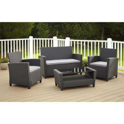 Malmo 4-Piece Black Resin Wicker Patio Conversation Set with Gray Cushions
