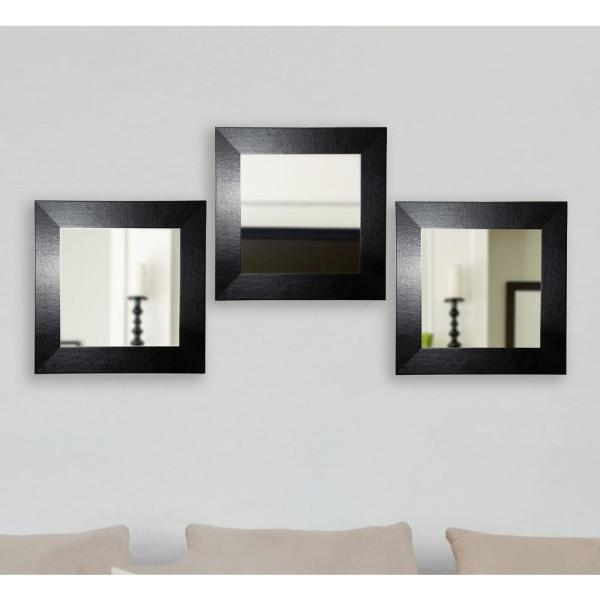 Black Wide Square Leather Wall Mirrors Set