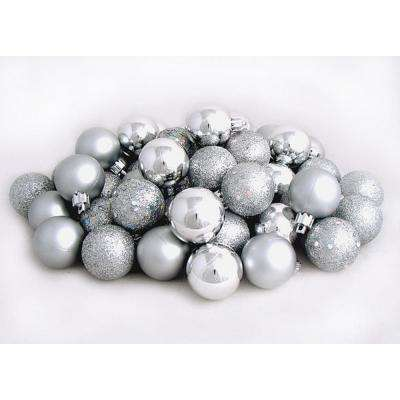 Silver Splendor Shatterproof 4-Finish Christmas Ball Ornaments (60-Count)