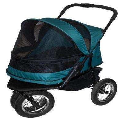 27 in. x 20 in. x 23 in. Pine Green No-Zip Double Pet Stroller