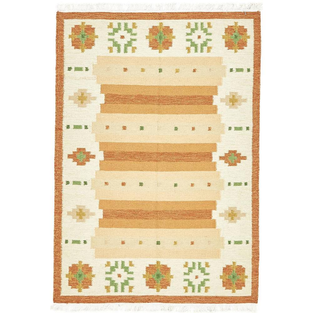 Unique Loom Karadagh Orange 4' 8 x 6' 8 Area Rug