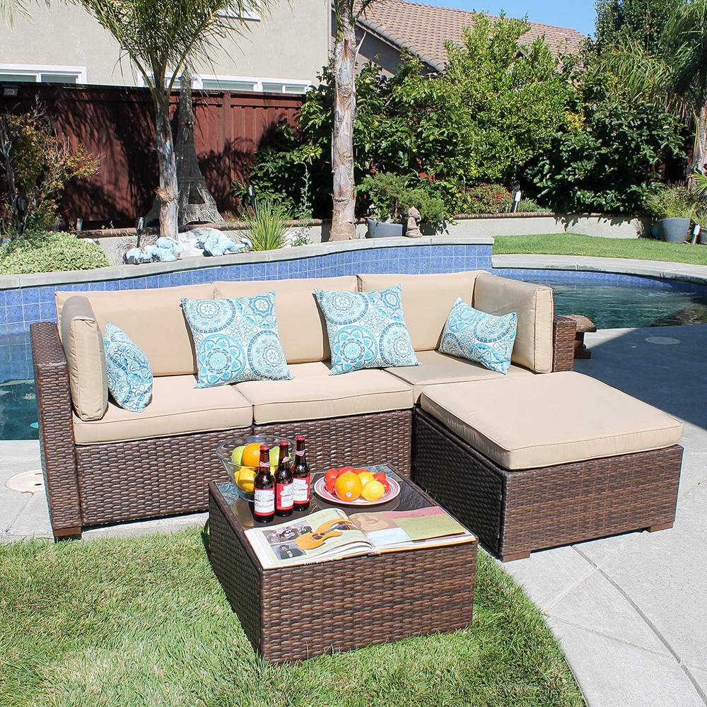 Freestyle Patiorama 5-Piece Wicker Outdoor Sectional Set ... on 5 Piece Sectional Patio Set id=71456