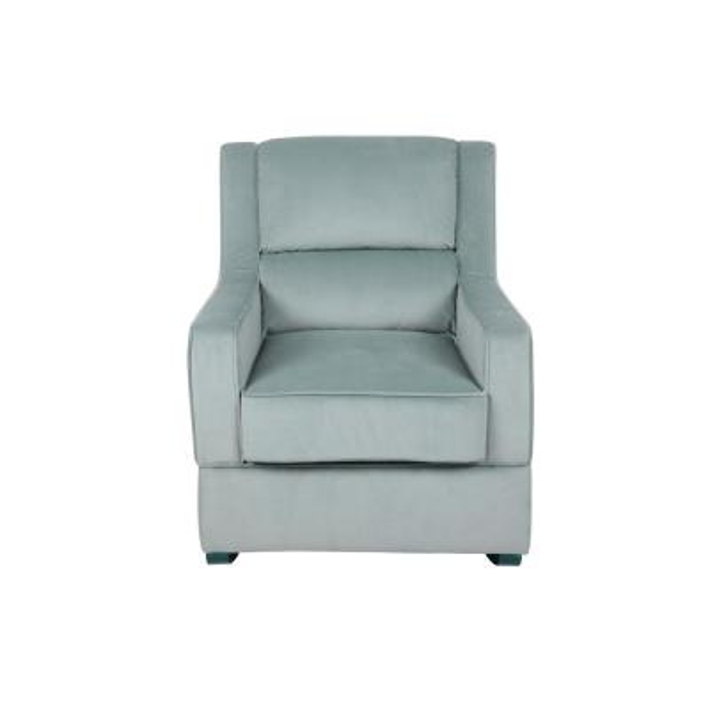 Riley Nursery Rocking Chair In Light Blue Microfiber Upholstery