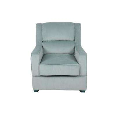 Riley Nursery Rocking Chair in Light Blue Microfiber Upholstery