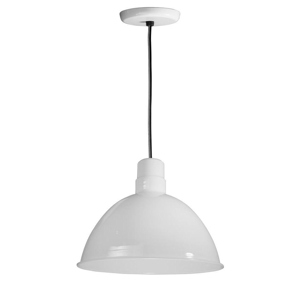 1-Light Outdoor White Deep Bowl Pendant