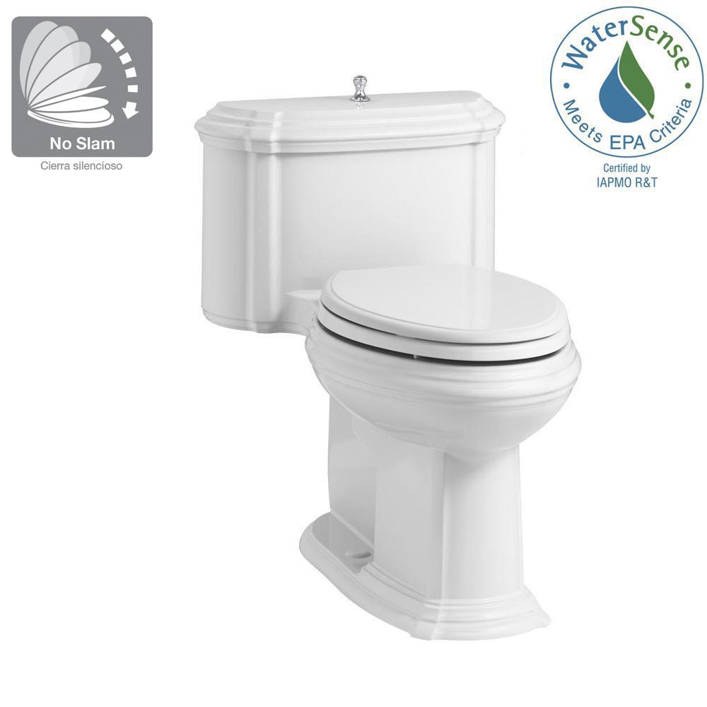 Cool Kohler Portrait 1 Piece 1 28 Gpf Single Flush Elongated Toilet With Aquapiston Flush Technology In White Seat Included Beatyapartments Chair Design Images Beatyapartmentscom