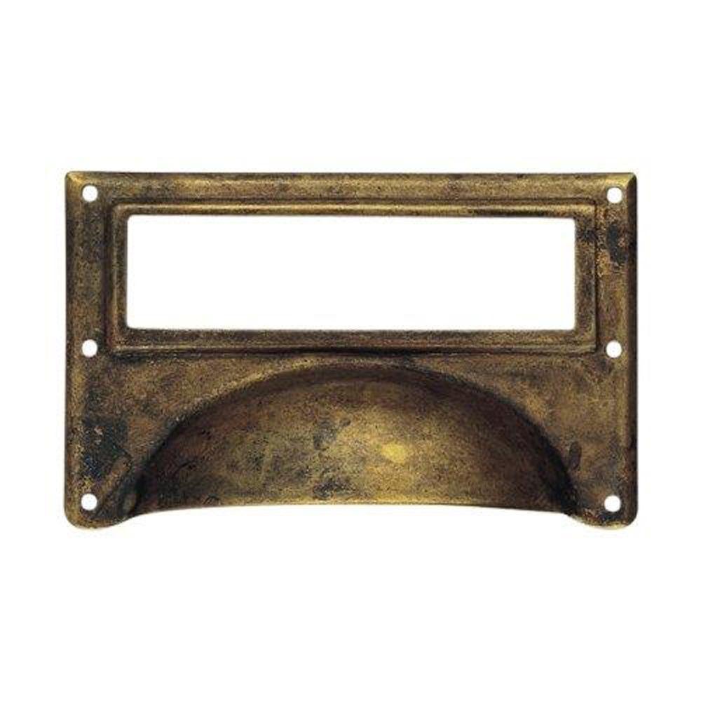 3.15 in. Antique Brass Dark Surface Mount Bin Pull Card Holder