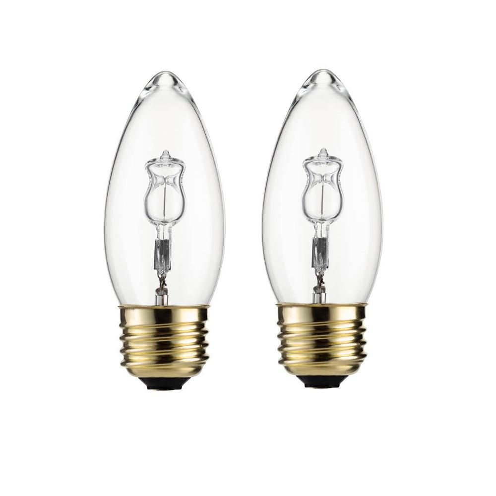 40-Watt Equivalent B11 Halogen Bent Tip Candle Light Bulb (2-Pack)